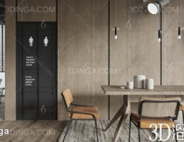 صحنه داخلی سالن پذیرش و انتظار سبک صنعتی (industrial)
