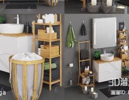 قفسه + وسایل حمام + روشویی