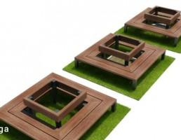 نیمکت  چوبی مربعی پارک