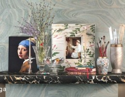 میز کنسول + تابلو + براش + گلدان گل