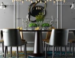مدل سه بعدی میز و صندلی ناهارخوری