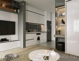 صحنه داخلی کامل واحد آپارتمانی