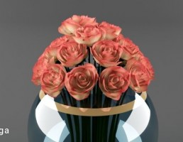 گلدان + دسته گل رز