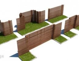 حصار چوبی فضای بیرونی+ چمن