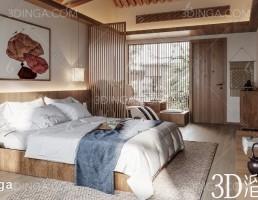 صحنه داخلی اتاق هتل سبک آسیای جنوب شرقی