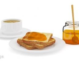 نان تست + عسل + قهوه