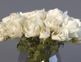 گلدان + گل رز