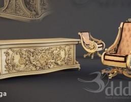صندلی راحتی + میز کار کلاسیک