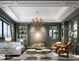 صحنه داخلی اتاق نشیمن سبک اروپایی
