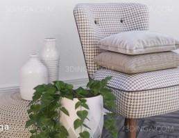 میز و صندلی + گلدان گل