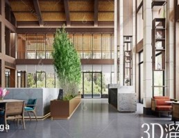 صحنه داخلی لابی و پذیرش سبک چینی