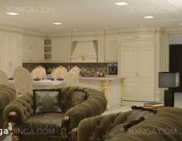 صحنه داخلی آپارتمان سبک کلاسیک