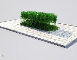 مجسمه + پرچین گیاهی + نیمکت