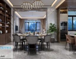صحنه داخلی آشپزخانه و نهارخوری