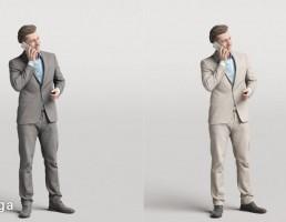 کاراکتر مرد ایستاده در حال صحبت با تلفن