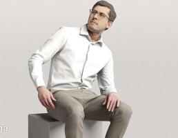 کاراکتر مرد کارمند در حالت نشسته
