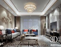صحنه داخلی سالن نشیمن به سبک چینی