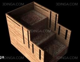راه پله چوبی + قالیچه