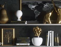 قفسه کتاب + مجسمه تزیینی