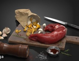 تخته برش + گوشت + قارچ