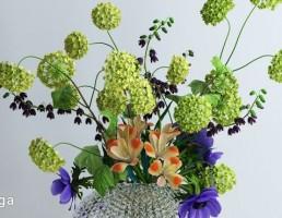 گلدان + گل یاس خوشه ایی