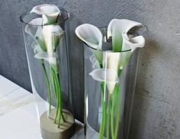 گلدان شیشه + گل شیپوری