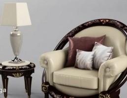 صندلی راحتی + میز کنار مبلی کلاسیک