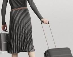 کاراکتر زن در حال راه رفتن با چمدان-True Walk