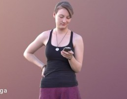 کاراکتر زن در حال استفاده از گوشی