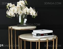 میز عسلی + گل ارکیده + کتاب