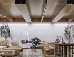 صحنه داخلی سالن نشیمن سبک چینی