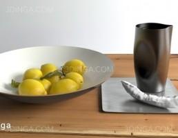 لیوان چایی + بشقاب لیمو ترش