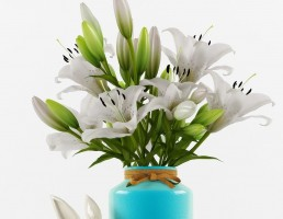 گلدان + گل لیلیوم + مجسمه