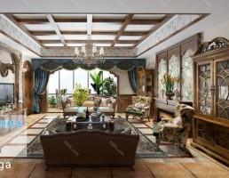 صحنه داخلی اتاق نشیمن سبک آمریکایی