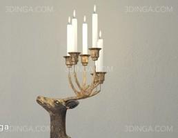 شمع + شمعدان به شکل گوزن