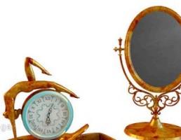ست آینه + ساعت رومیزی + جا زیوالات