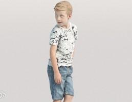 کاراکتر پسر بچه ایستاده در حال نگاه کردن