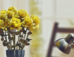 گلدان + گل رز + آباژور + کتاب