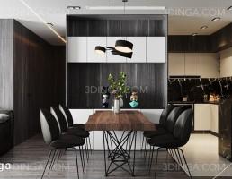 صحنه داخلی سالن نشیمن+ آشپزخانه