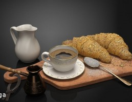 فنجان قهوه + قهوه جوش + نان صبحانه