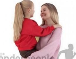 کاراکتر زن در حال بغل کردن دختر بچه
