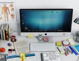 لپ تاپ + لوازم التحریر + چراغ مطالعه