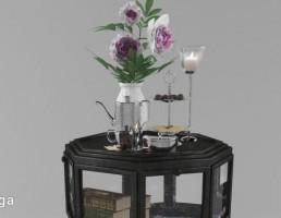 میز کلاسیک + گل + گلدان تزیینی