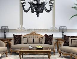 ست مبلمان منبت کاری شده به سبک اروپایی+ لامپ آویز