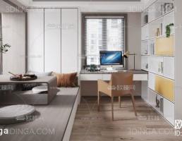 صحنه داخلی اتاق مطالعه سبک مدرن