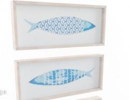 نقاشی ماهی آبی چوبی