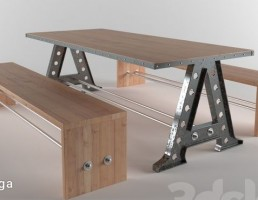 نیمکت + میز چوبی
