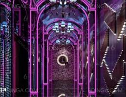 صحنه داخلی سالن آسانسور و راهرو سبک پست مدرن