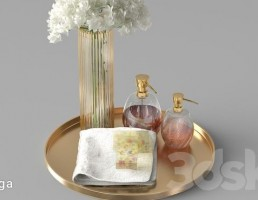 گلدان + گل + خوشبو کننده حمام