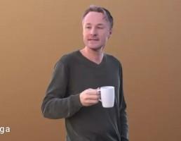 کاراکتر مرد درحال چای خوردن